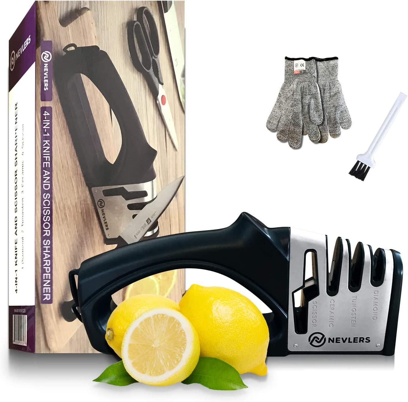 Nevlers 4 in 1 Knife Sharpener W/Ceramic Scissor Slot - 2 Cut Resistant Gloves and Mini Brush Included - Preps, Repairs, Sharpens, and Polishes Knives w/Diamond, Ceramic and Tungsten Steel Blades