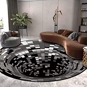 V-HOME 3D Vortex Illusion Rug,Area Rug Round Carpet,3D Swirl Print Optical Illusion Rug Non-Slip Non-Woven Black White Plaid Doormat Floor Pad for Dining Room Home Bedroom Living Room 63 inch