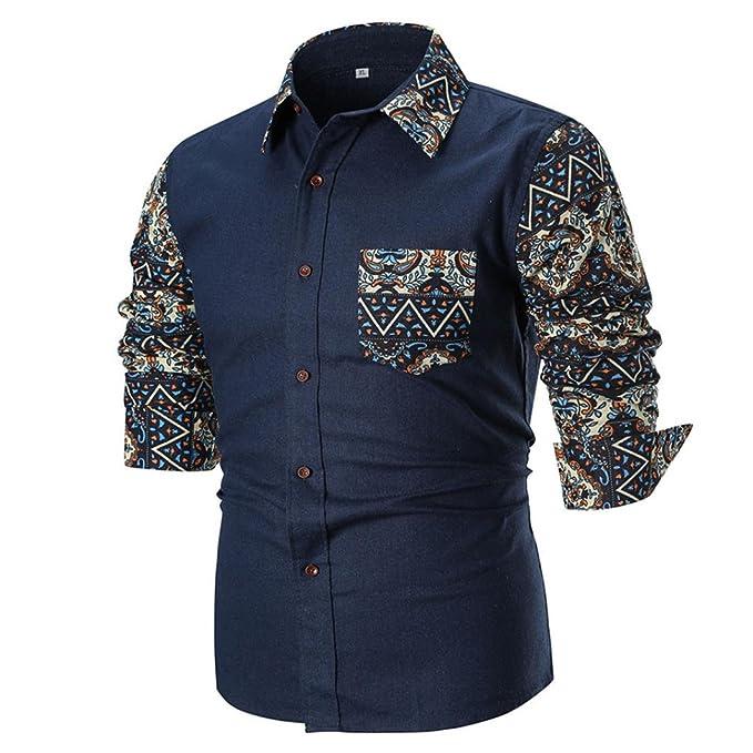 Camisas de Hombre, Hombres de la Personalidad de Verano Casual Slim Manga Larga Impresa Camisa Tops Blusa: Amazon.es: Ropa y accesorios
