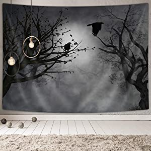 Mystic Fog Forest Tapestry Gothic, Birds at Branches on Creepy Jungle at Deep in Dark Forest Tapestry Wall Hanging, Tapestry for Bedroom Living Room Dorm, 71X60IN