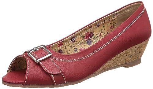 445d00d5a0c BATA Women s Haze Red Wedges Peeptoes Sandals Peeptoes Sandals - 6 UK India  (39