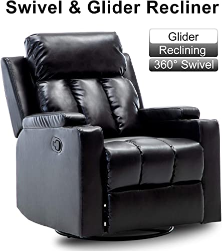 Bonzy Home Air Leather Recliner Chair Swivel and Glider Overstuffed Heavy Duty Recliner – Faux Leather Home Theater Seating with Cup Holder – Manual Bedroom Living Room Chair Reclining Sofa Black