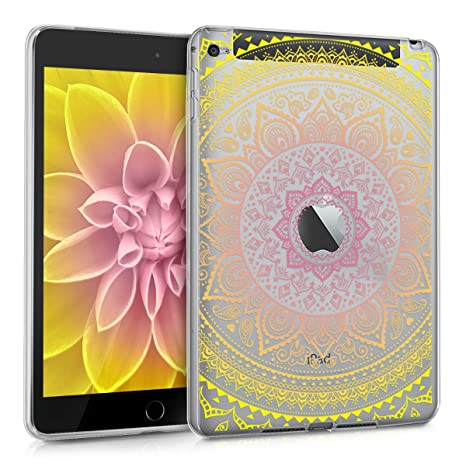 kwmobile Funda para Apple iPad Mini 4 - Carcasa [Trasera] para Tablet de [Silicona TPU] - Cover en [Amarillo/Rosa Fucsia/Transparente]