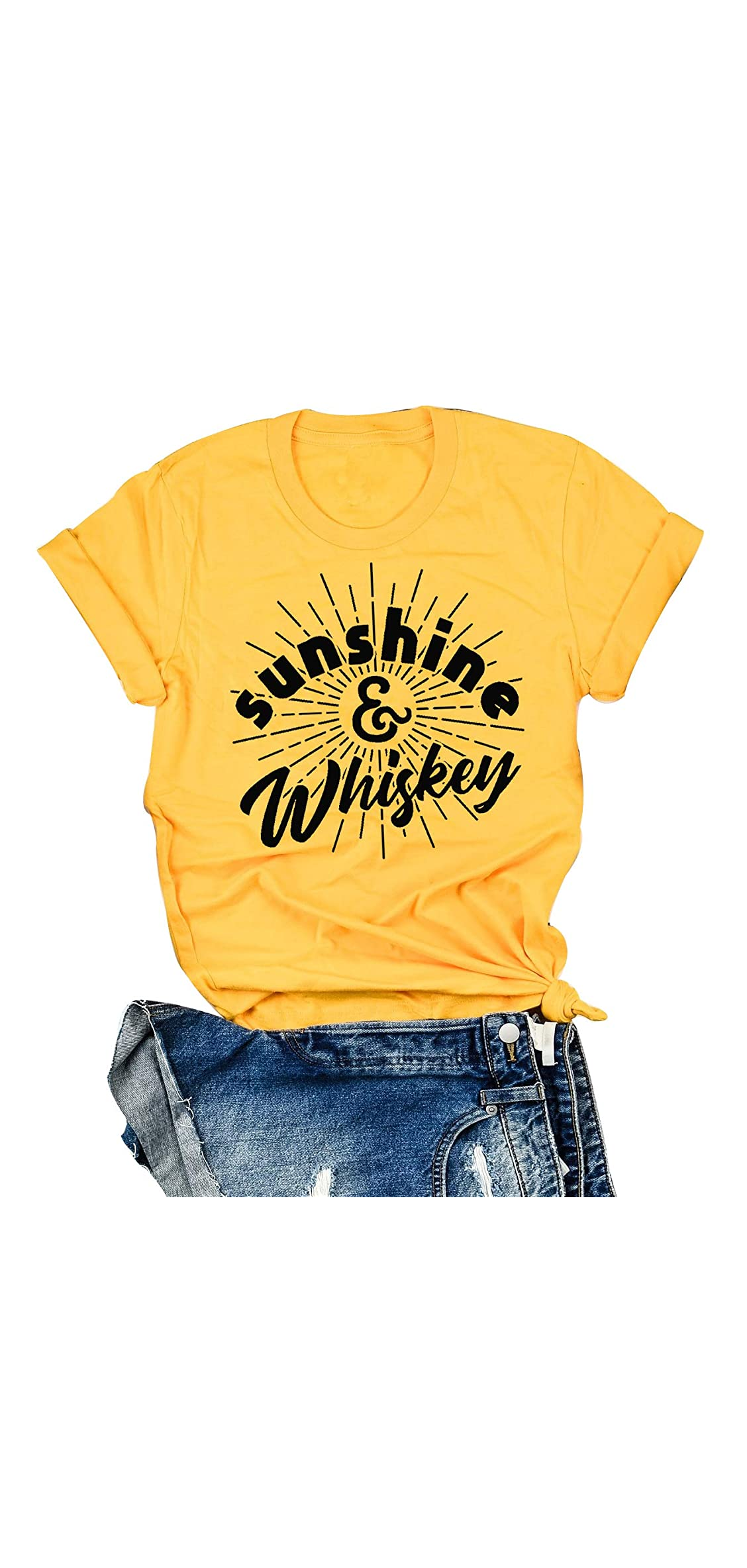 Sunshine And Whiskey T Shirt Women Funny Summer Drinking Drunk