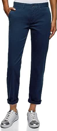 oodji Collection Mujer Pantalones de Algod/ón Estrechos