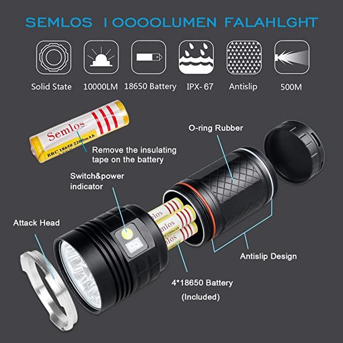 12x Xm-L T6 LED 4 Modos Linterna T/áctica S/úper Brillante JVSISM Linterna LED 10000 L/úmenes Luz De Mano Impermeable con Pantalla De Potencia Y 4X18650 Baterias De Litio Recargables