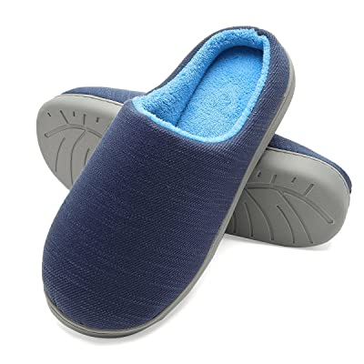 Harrms Men's House Slippers, Memory Foam Anti-Slip Two-Tone Mules Clogs for Men, Indoor Outdoor Slip On Shoes: Shoes