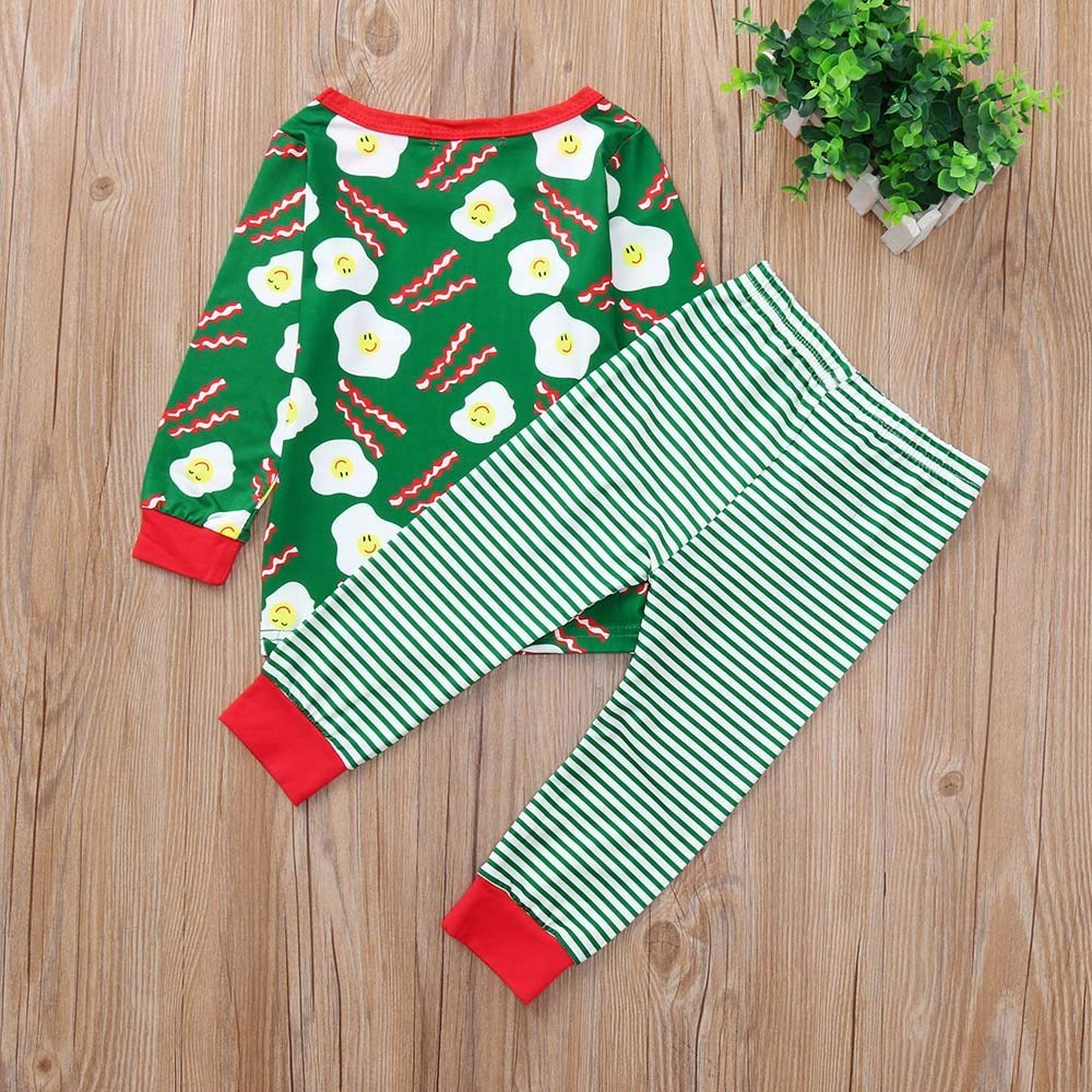 Children Baby Boys Girls Eggs Sausage Print Tops+Pants Casual Set Clothes