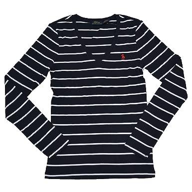 Polo Ralph Lauren Womens Long Sleeve V-Neck Shirt (XS, Navy/White