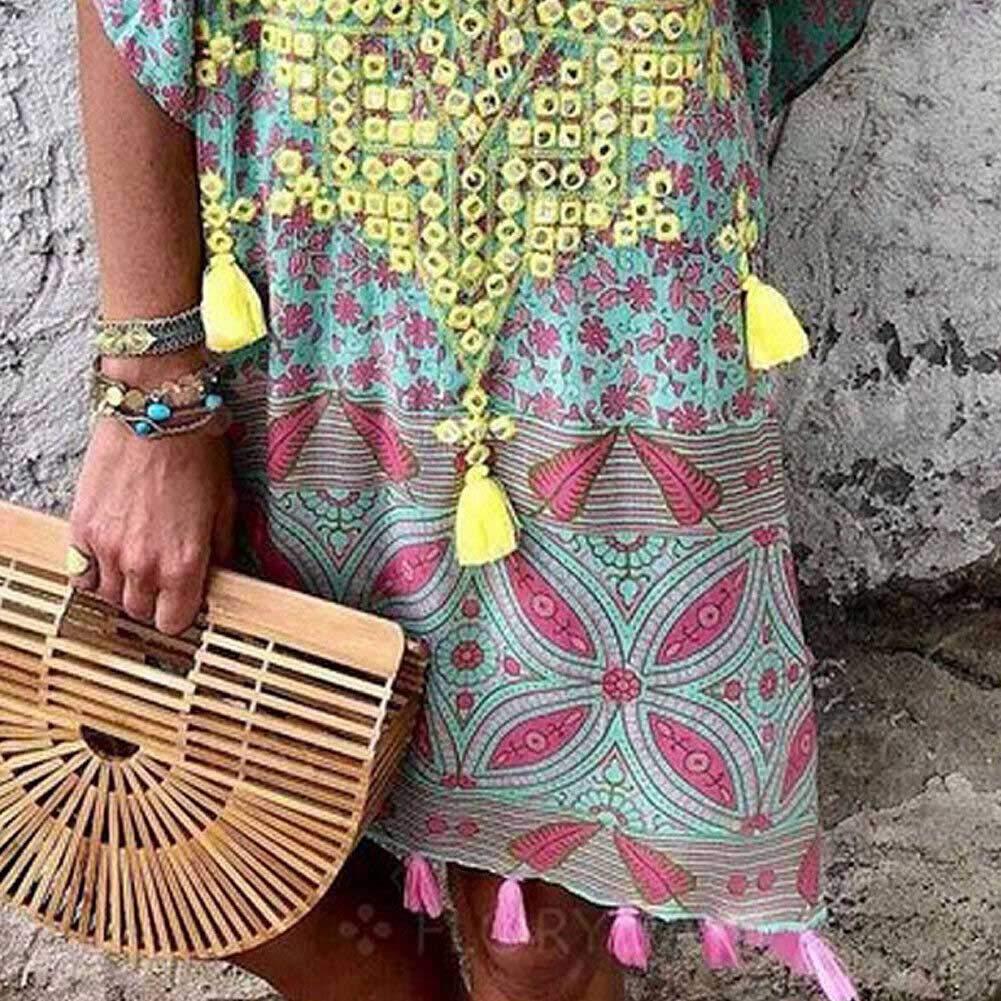 Vestito Donna Copricostumi da Bagno con Scollo a V Copricostume Mare Donna Manica Corta Taglia S-3XL