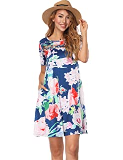 26ff7726ed2e SELUXU Women Long Maxi Dress Short Sleeve Loose Casual Floral Printed Maxi  Dress Pockets