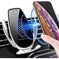 CAFELE 車載Qi ワイヤレス充電器 車載ホルダー10W急速ワイヤレス充電器 赤外線センサーによる自動開閉 車載スマホホルダー 360度回転 吹き出し口 iPhone X/XR/XS/XSMAX/8/8 Plus/Galaxy S9/S8/S8 Plus/S7/S7 Edge/S6/S6 Edge/Note 8/Note 5/Nexus 5/6等に適用ワイヤレス充電機種に対応(ブラック+シルバ-)