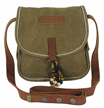af78d3051f5b The House of tara Wax Coated Canvas Small Khaki Girls Messenger Bag   Amazon.in  Bags