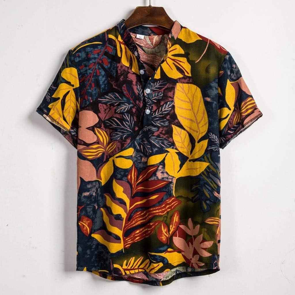 Cocoty-store 2019 Camisa Hawaiana para Hombre Funky Casual Button Down Very Loud Manga Corta Unisex, M-XXXL, Amarillo: Amazon.es: Ropa y accesorios
