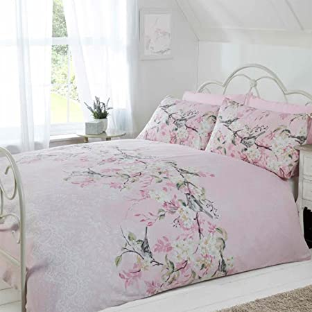 and bird life cotton comforter for image birds flower cage print full duvet queen rural crib bedding leisure piece bicycle covers sets set printing cover
