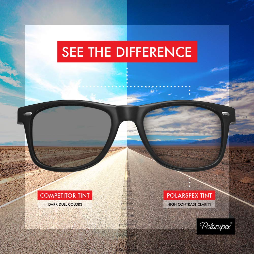 5b7d366dc2 Amazon.com  Polarspex Polarized 80 s Retro Classic Trendy Stylish  Sunglasses for Men Women  Clothing