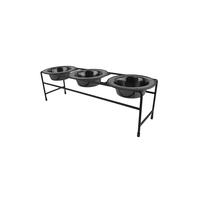 Black Chrome XSPlatinum Pets Modern Triple Diner Feeder with Stainless Steel Cat Dog Bowls
