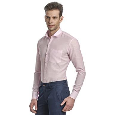 Edjoe Mens Baby Pink Slim Fit Casual/Party Wear Shirt, BLEDMS0001 ...