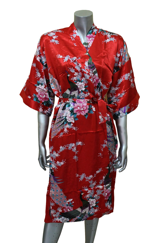 Asian Peacock Kimono Women's Satin Silk Robe - One Size - Red by ORIENTAL VILLAGE SILK COLLECTION (Image #1)