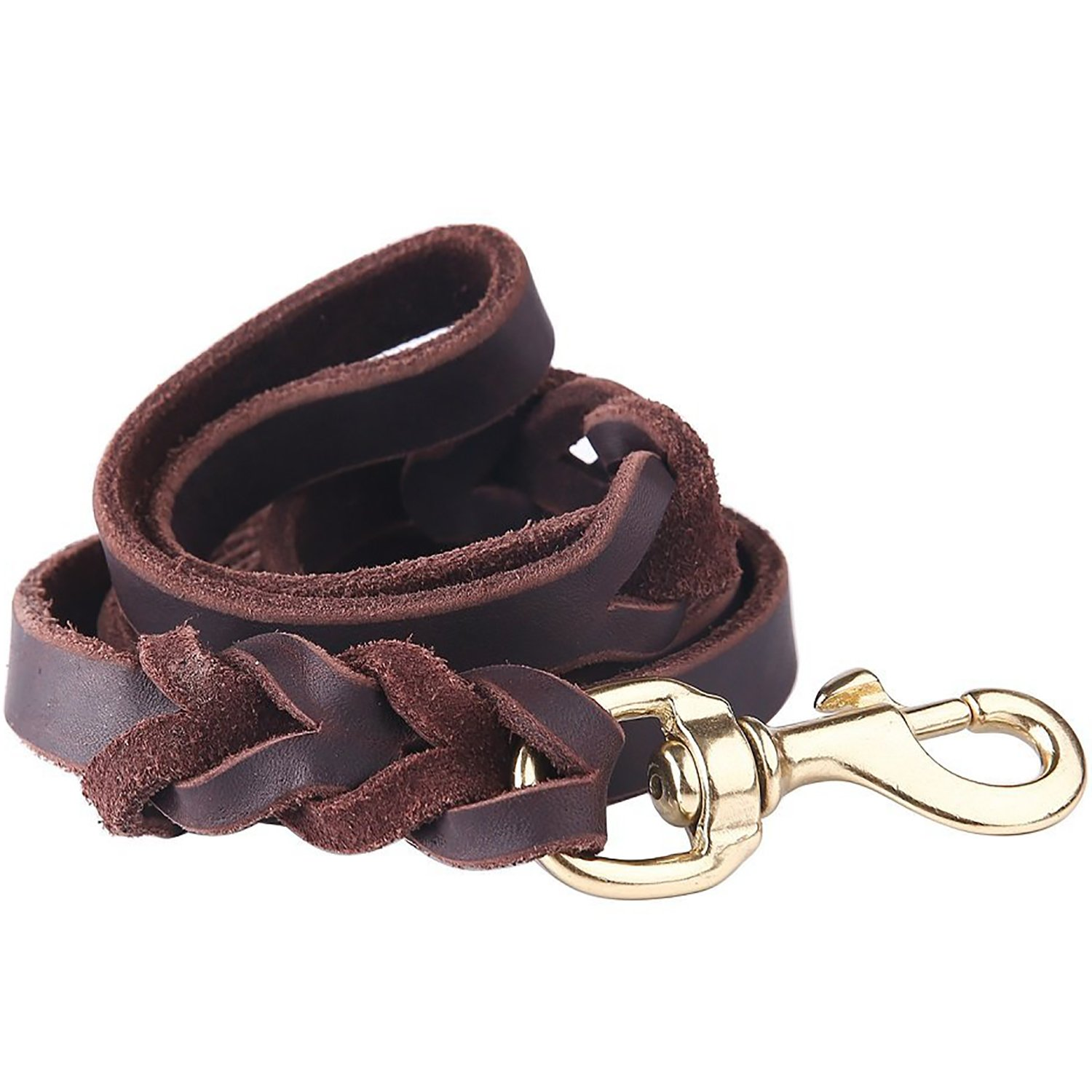 Taglory Premium Leather Dog Leash 6 Foot x 5/8 Inch/Braided Latigo Leather K9 Training Leads/Best Trainer Leashes for Medium and Large Dogs/Brown by Taglory