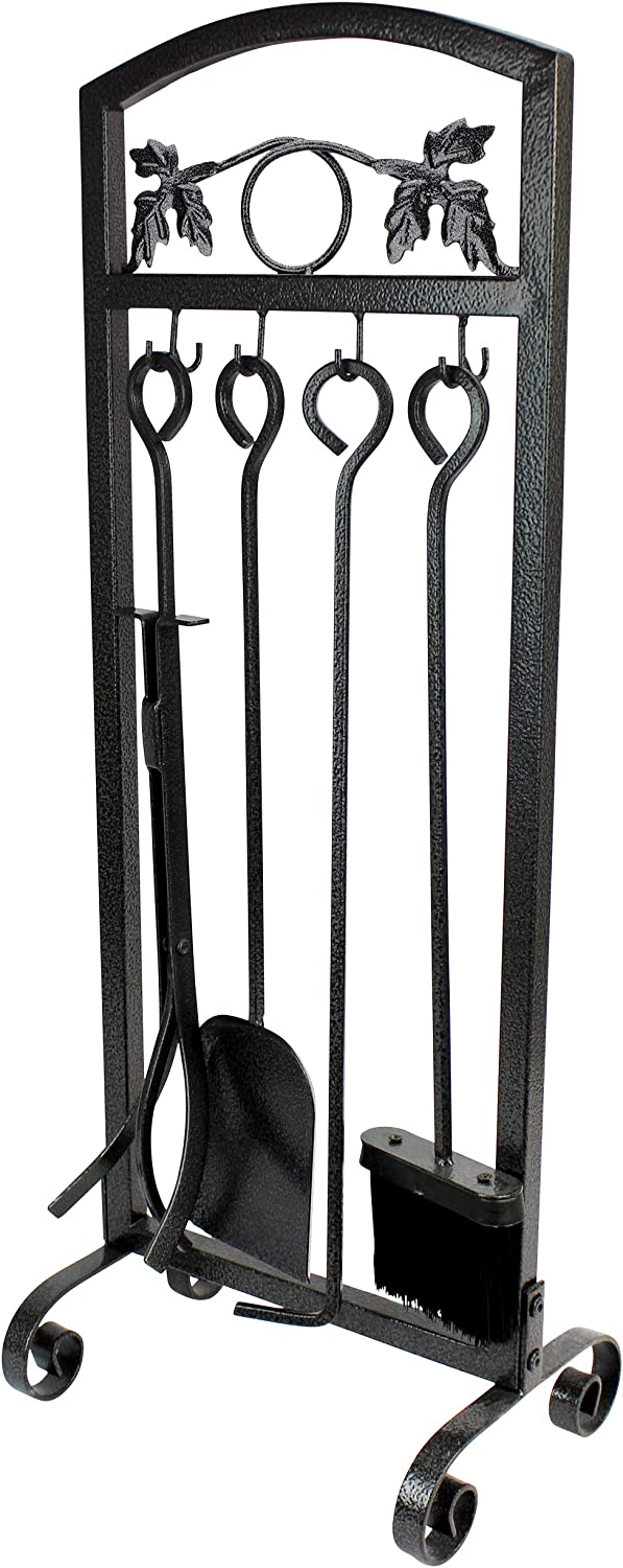 Wrought Iron Fire Set Fire Pit Poker Wood Stove Log Firewood Tongs Holder Tools Kit Sets with Handles Modern Black Outdoor Accessories Set Firlar 5 PCS Fireplace Tools Set