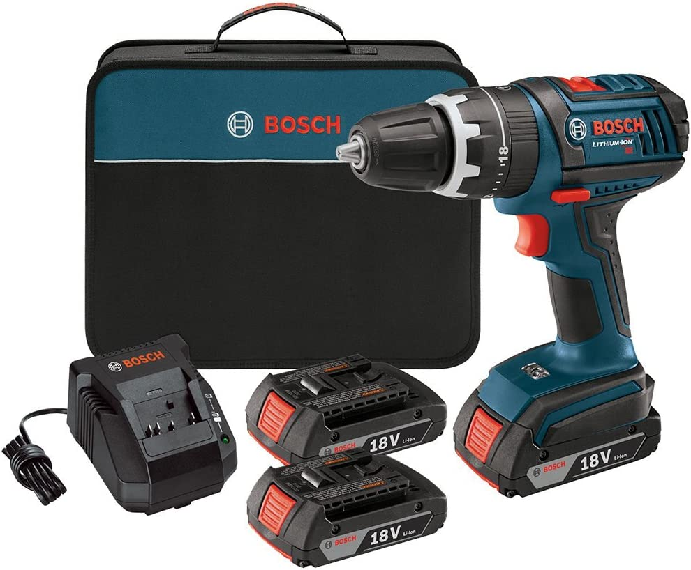 Bosch HDS18102RT 18V Cordless Lithium-Ion Compact Tough 1 2 in. Hammer Drill Driver with 2 Slim Pack HC Batteries Renewed
