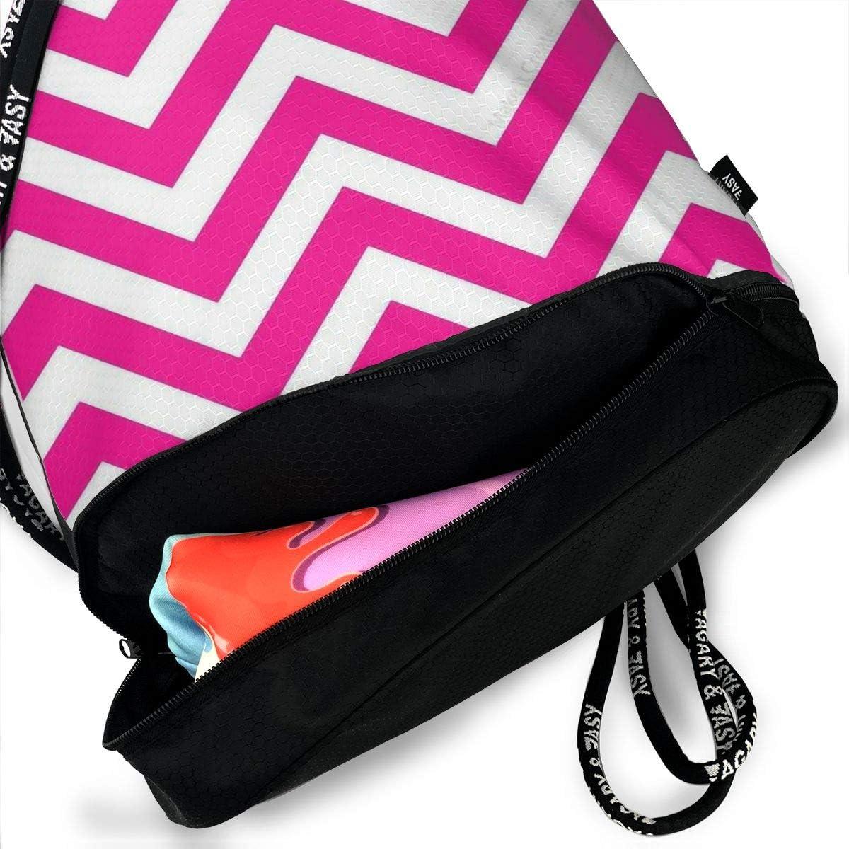 Drawstring Backpack Colorful Chevron Gym Bag