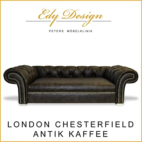 Perros sofá London Chesterfield Antiguo Café XXL Exklusiv ...