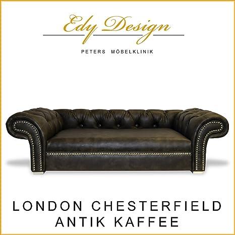 Perros sofá London Chesterfield Antiguo Café XXL Exklusiv ...