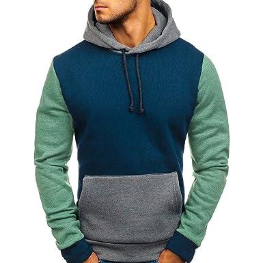 Battnot Herren Pullover Blau Grün Rot Splicing