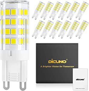 DiCUNO G9 LED Ceramic Base Light Bulbs, 4W (40W Halogen Equivalent), 400LM, Daylight White (6000K), G9 Base, G9 Bulbs Non-Dimmable for Home Lighting, 12-Pack