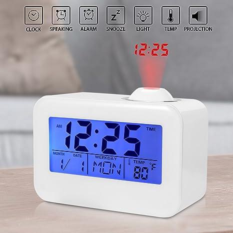 Amazon.com: Reloj de proyección, tiempo de reloj despertador ...