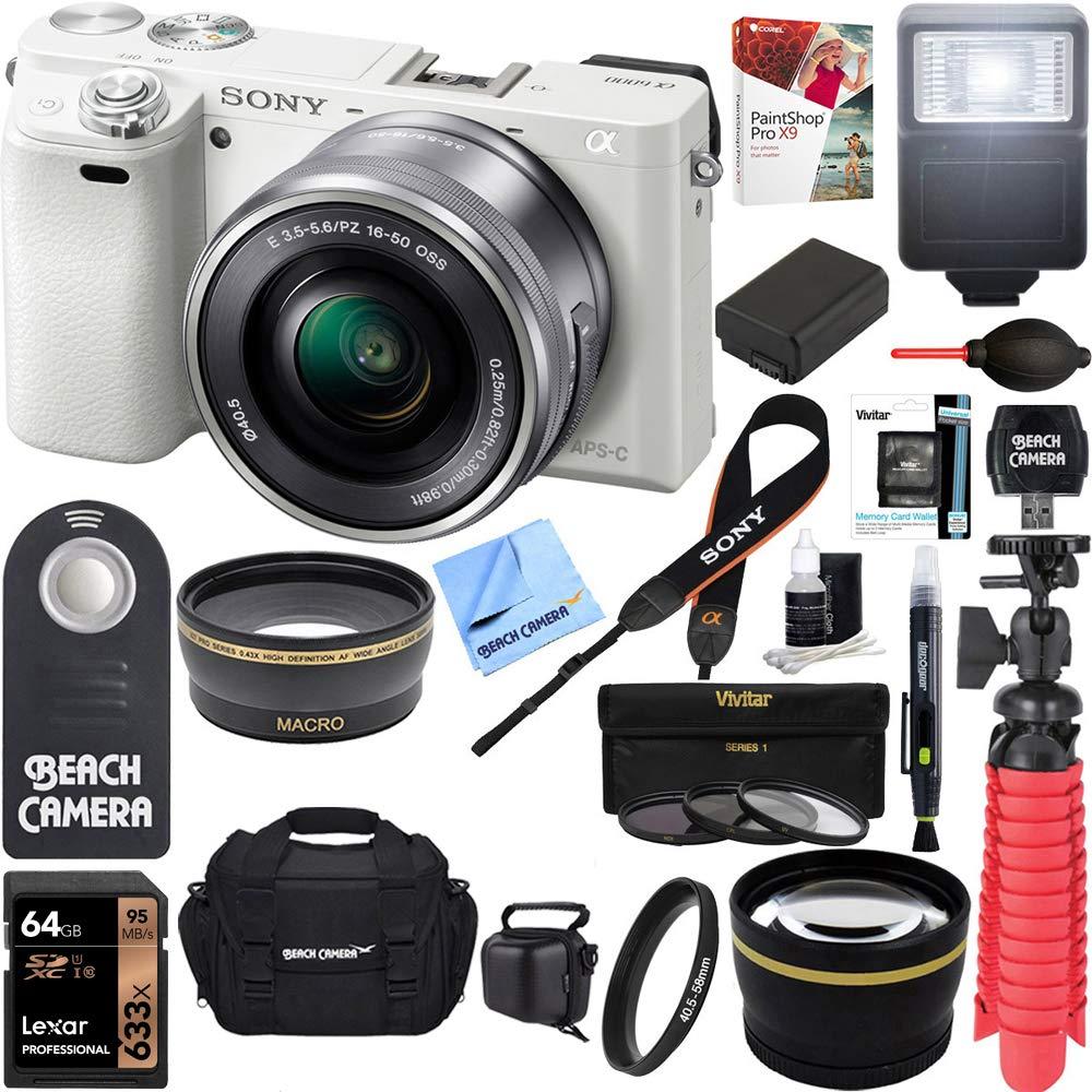 Sony Alpha a6000 24.3MP Mirrorless Digital Camera + 16-50mm Lens Kit (White) + 64GB Card + Photo Bag + Extra Battery + Wide Angle Lens + 2X Telephoto Lens + Flash + Remote + Tripod