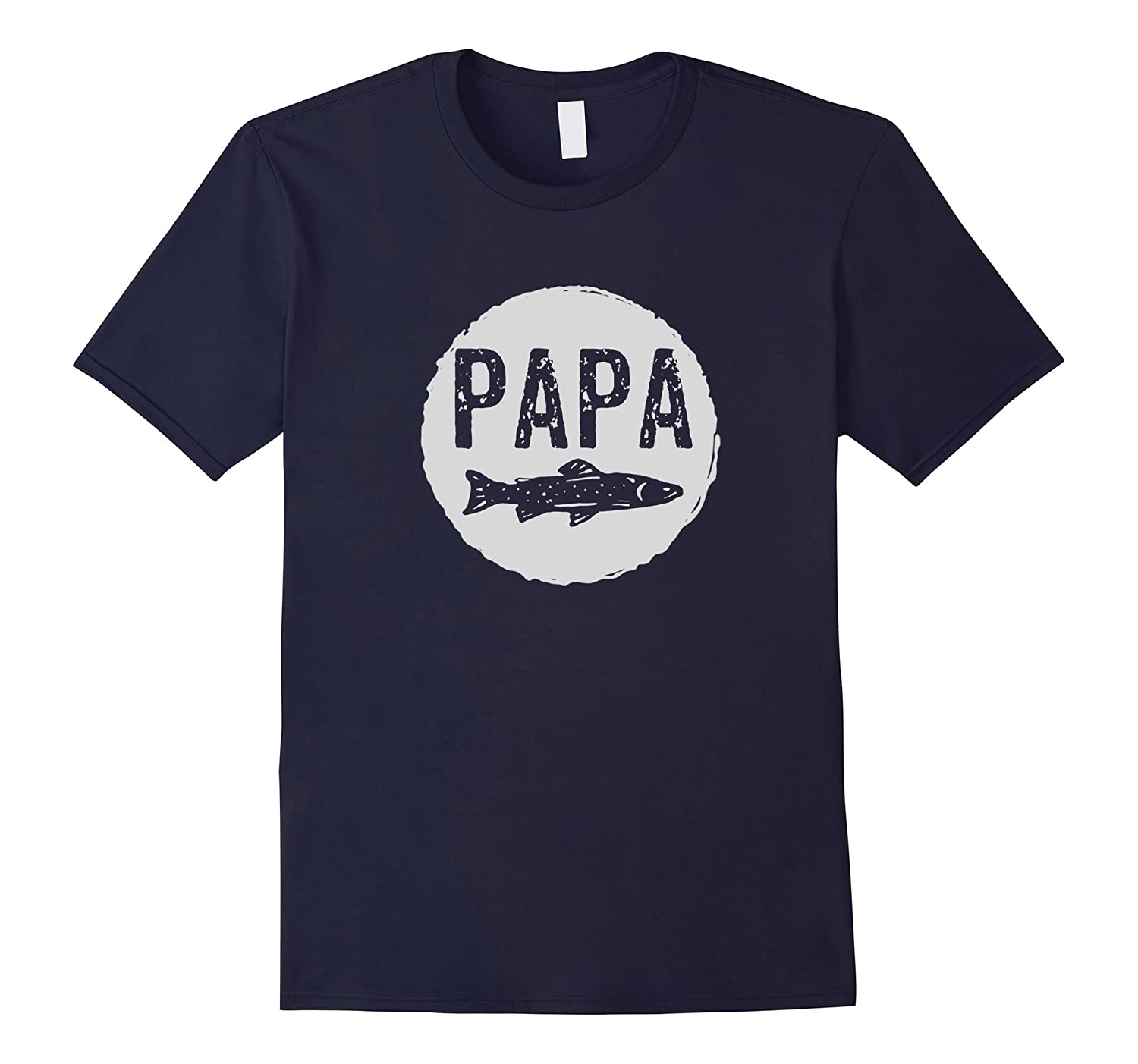 Mens Papa Fishing T-Shirt Fathers Day Grandfather Fish Tee-TH