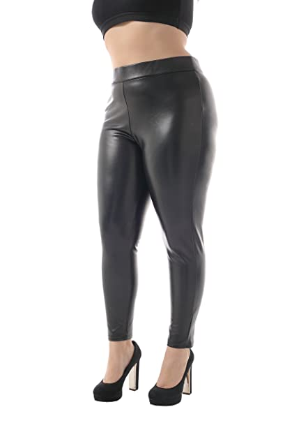 6bc3fc207b ZERDOCEAN Women's Plus Size Faux Leather High Waist Brushed Lining Leggings  Black 1X