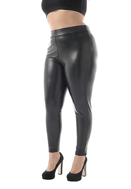 4db2c26a9a057 ZERDOCEAN Women's Plus Size Faux Leather High Waist Brushed Lining Leggings  Black 1X