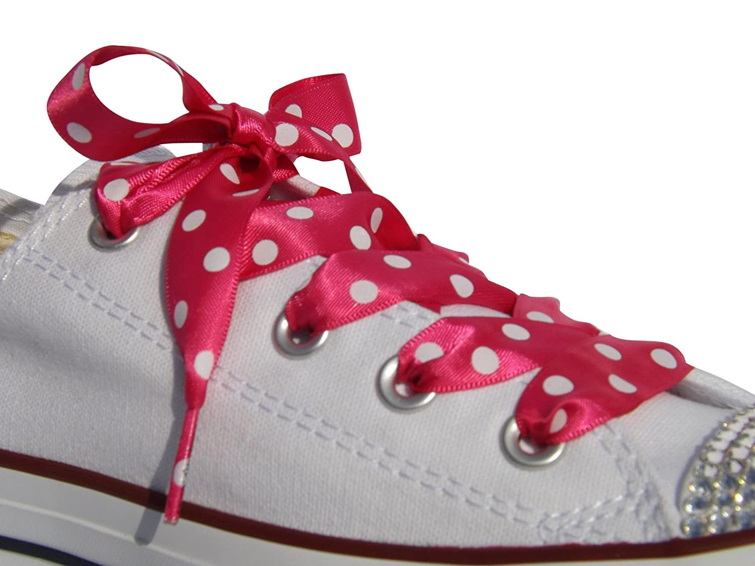 2fd51e6bdb13a5 Amazon.com  Shocking Pink Polka Flat Satin Ribbon Shoelaces