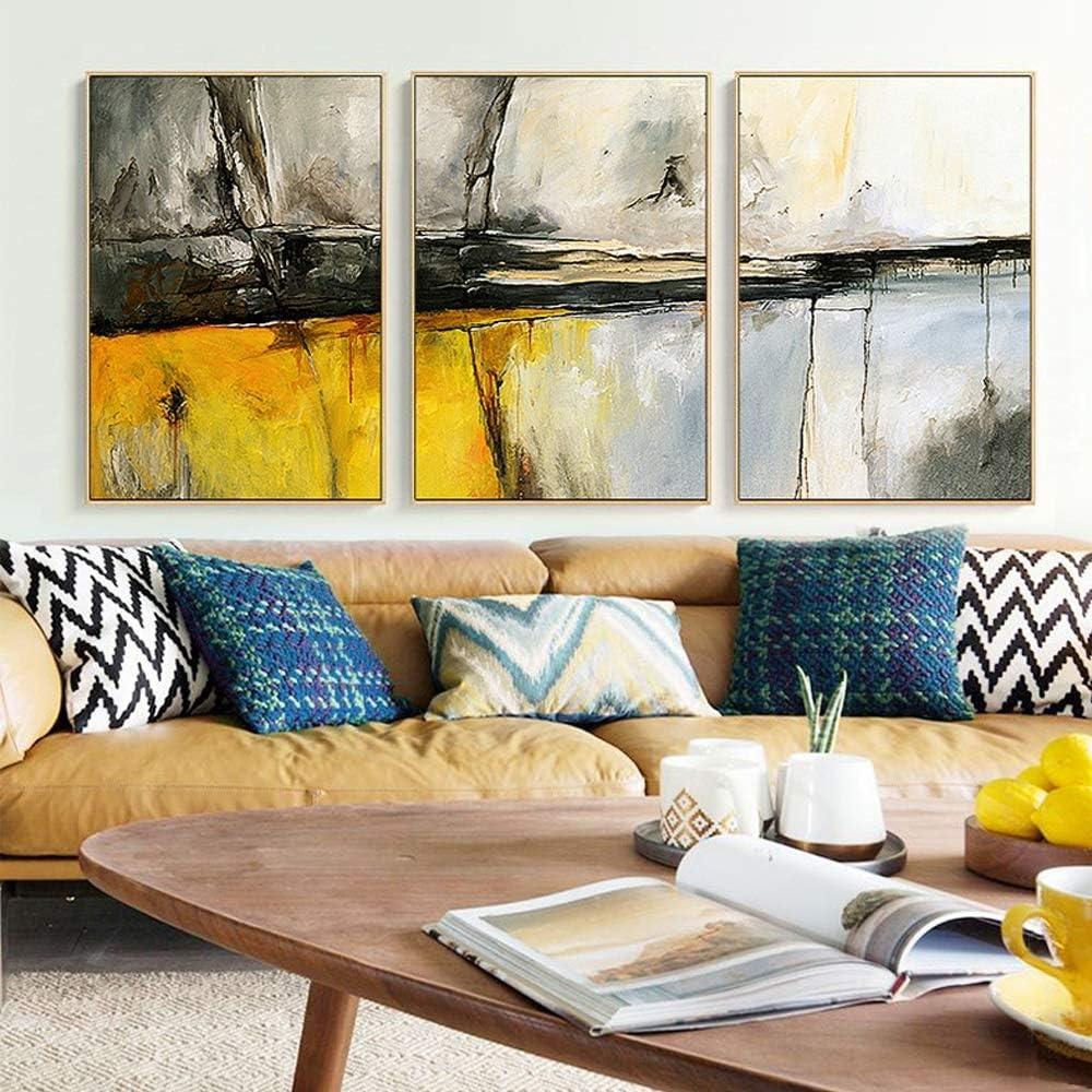 インテリアポスター 現代のミニマリストの北欧スタイル、黄砂の抽象絵画、弱い溶剤キャンバス、色あせ防止、ゴールドPS額縁、屋内/ポーチ装飾絵画、スリーピース、6サイズ,壁飾 (Size : 35x50cm)