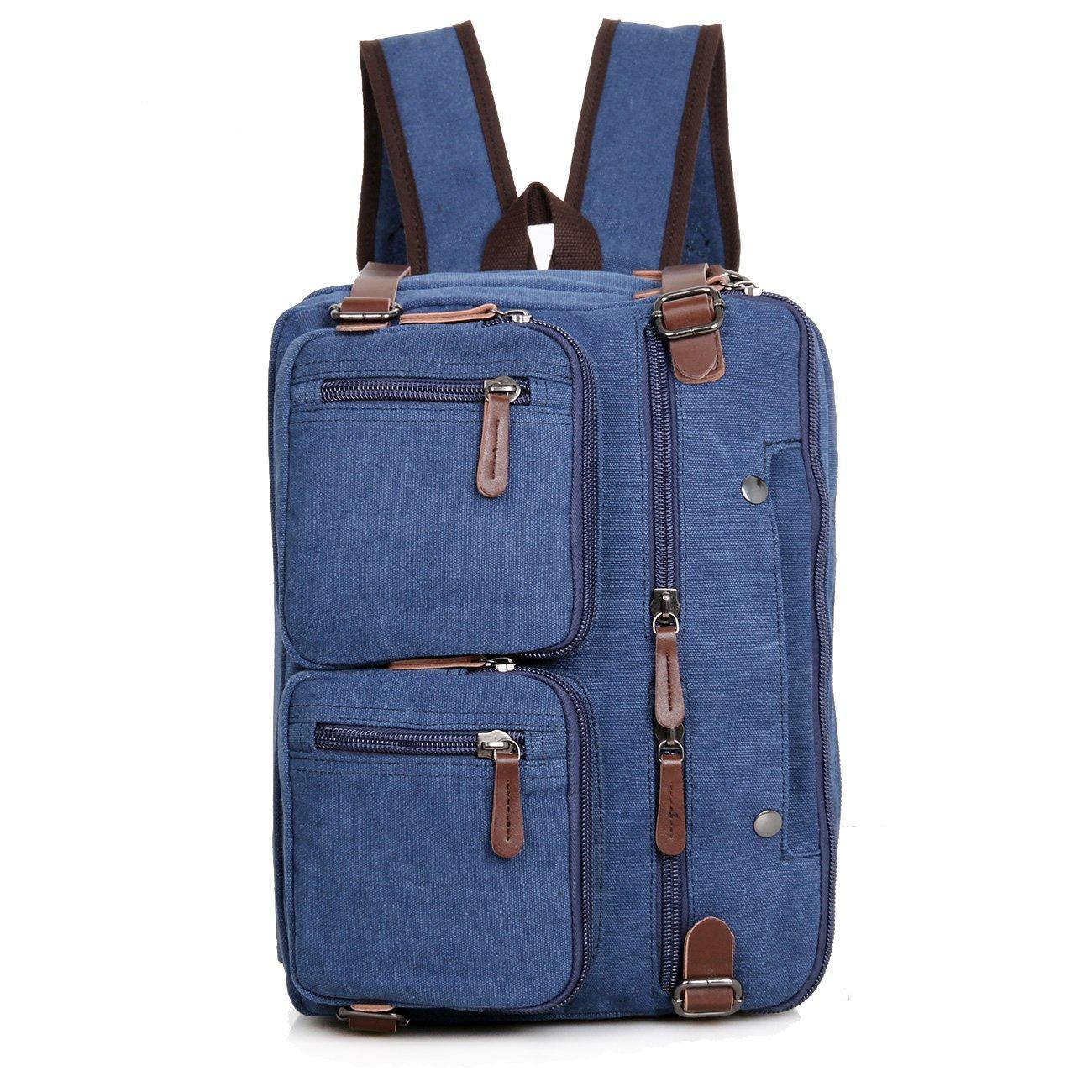 Clean Vintage Laptop Bag Hybrid Backpack Messenger Bag/Convertible Briefcase Backpack Satchel for Men Women- BookBag Rucksack Daypack-Waxed Canvas Leather, Blue by Clean Vintage (Image #5)