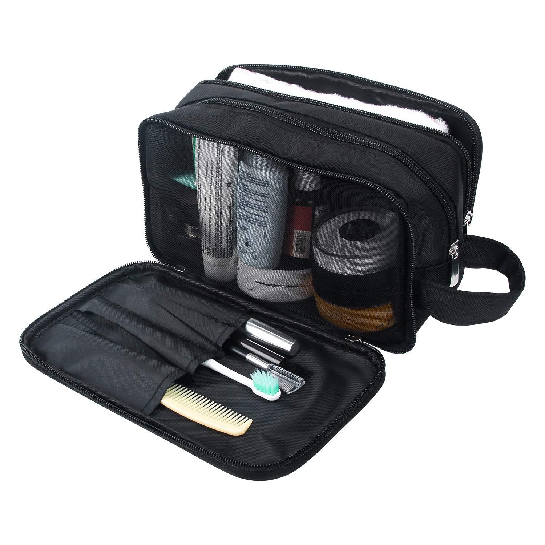 Mens Toiletry Bag, Waterproof Dopp Kit for Men Hanging Travel Shaving Wash Bags (Black)