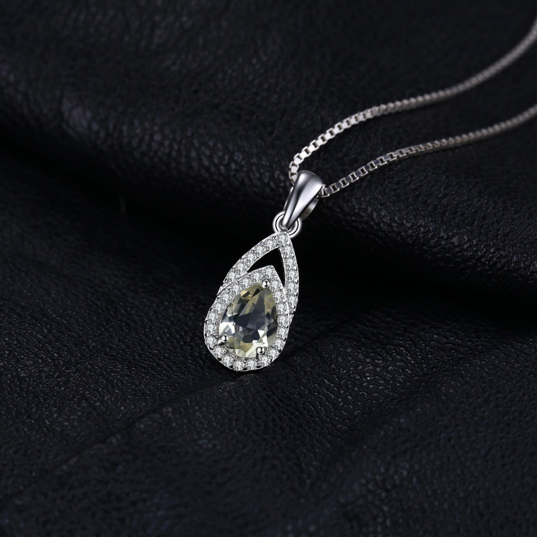 CS-DB Jewelry Silver 0.9 ct Natural Lemon Quartz Fashion Chain Charm Pendants Necklaces