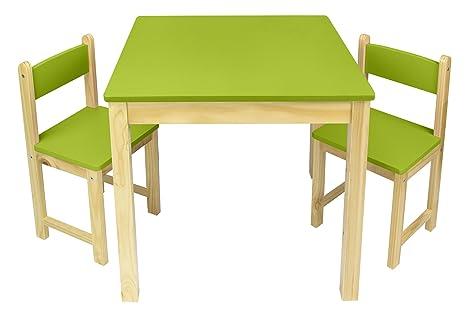 Leomark Mesa de Madera con Dos sillas Verde