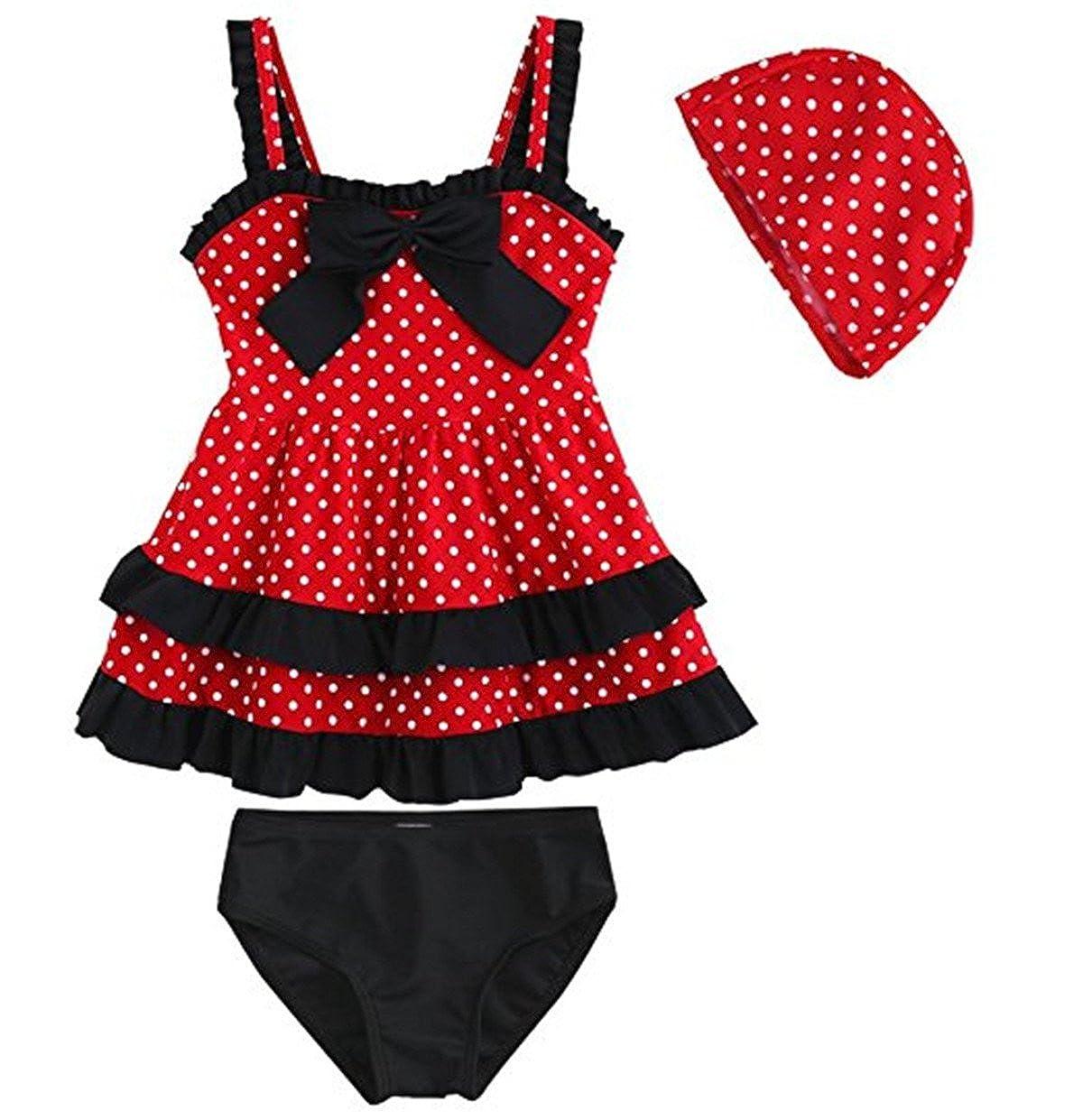 JELEUON Baby Girls Toddler Kids 3 Piece Lace Bow Dot Swimsuit Swimwear Hat bSgirkks003