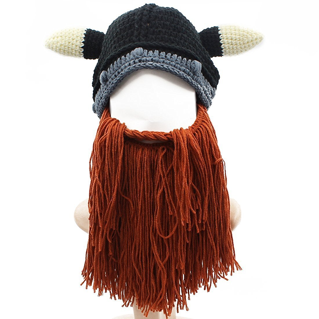 Jenny Shop Men's Funny Bull Cow Horn Cosplay Head Beanie Knit Viking Original Foldaway Beard/Mustache Hats Halloween Caps, Black