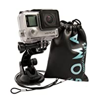 GOMA Industries Suction Cup Car Mount for GoPro Hero6 Hero5 Hero4 Hero3 All Gopro Cameras and camcorders SJcam SJ4000, SJ5000, Garmin Virbx, xiaomi Yi Bundled with Safety Tether and Protective Bag