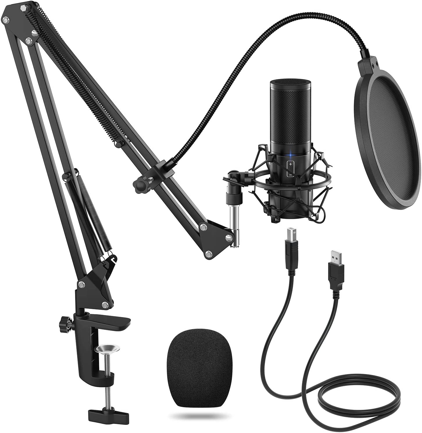 Amazon Com Tonor Usb Microphone Kit Streaming Podcast Pc Condenser Computer Mic For Gaming Youtube Video Recording Music Voice Over Studio Mic Bundle With Adjustment Arm Stand Q9