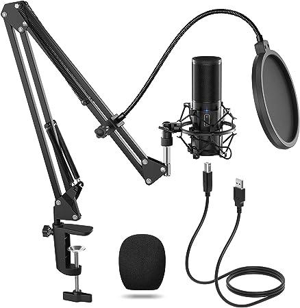 Todo para el streamer: TONOR Micrófono de Condensador USB Micro Grabación Patrón Polar Cardioide para Grabar Música y Video Podcast Transmisión en Vivo Juegos Chat Soporte de Brazo