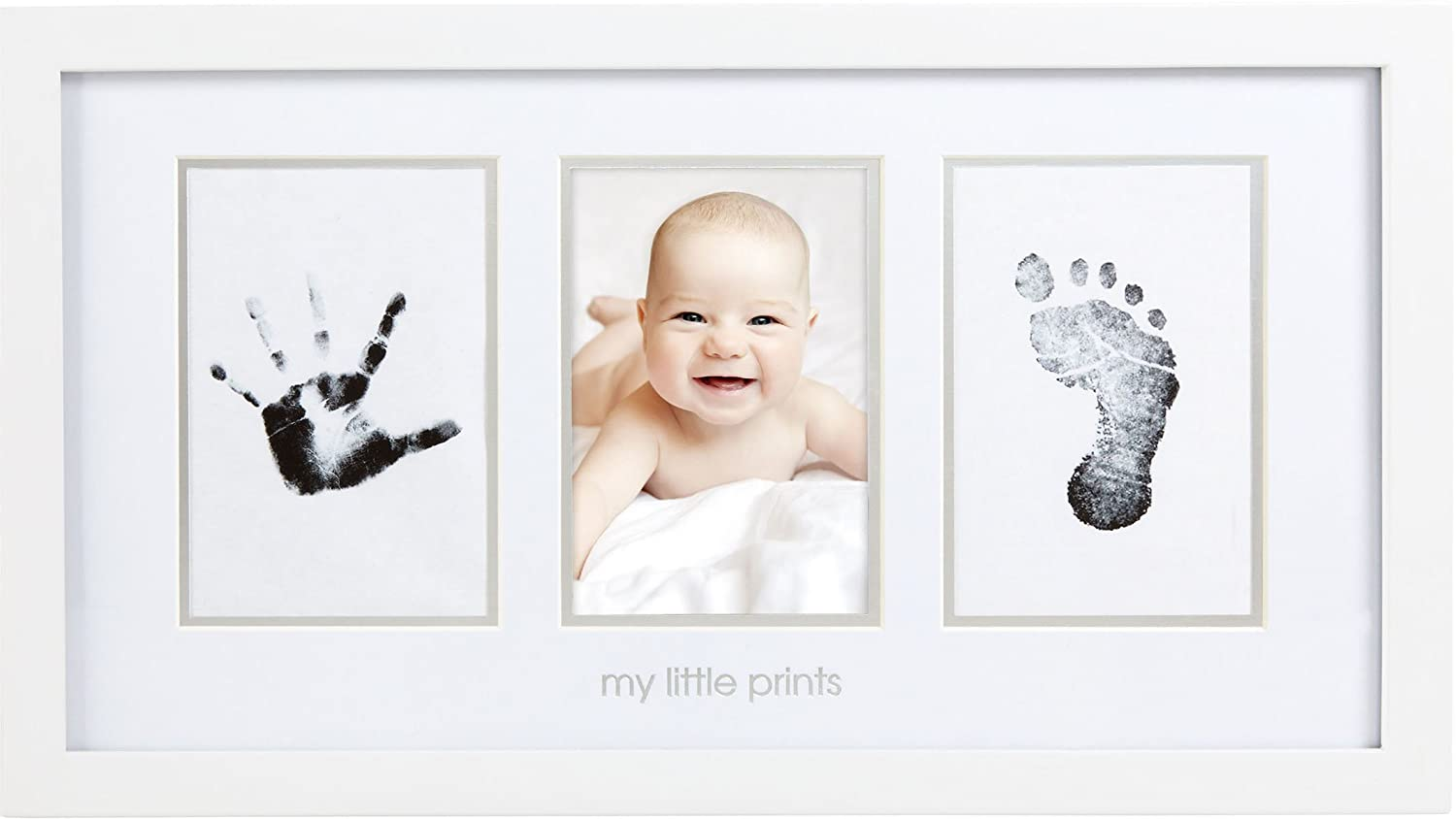 Pearhead Babyprints Newborn Baby Handprint and Footprint Photo Frame Kit with Included Safe for Baby Clean-Touch Ink Pad, White P63002