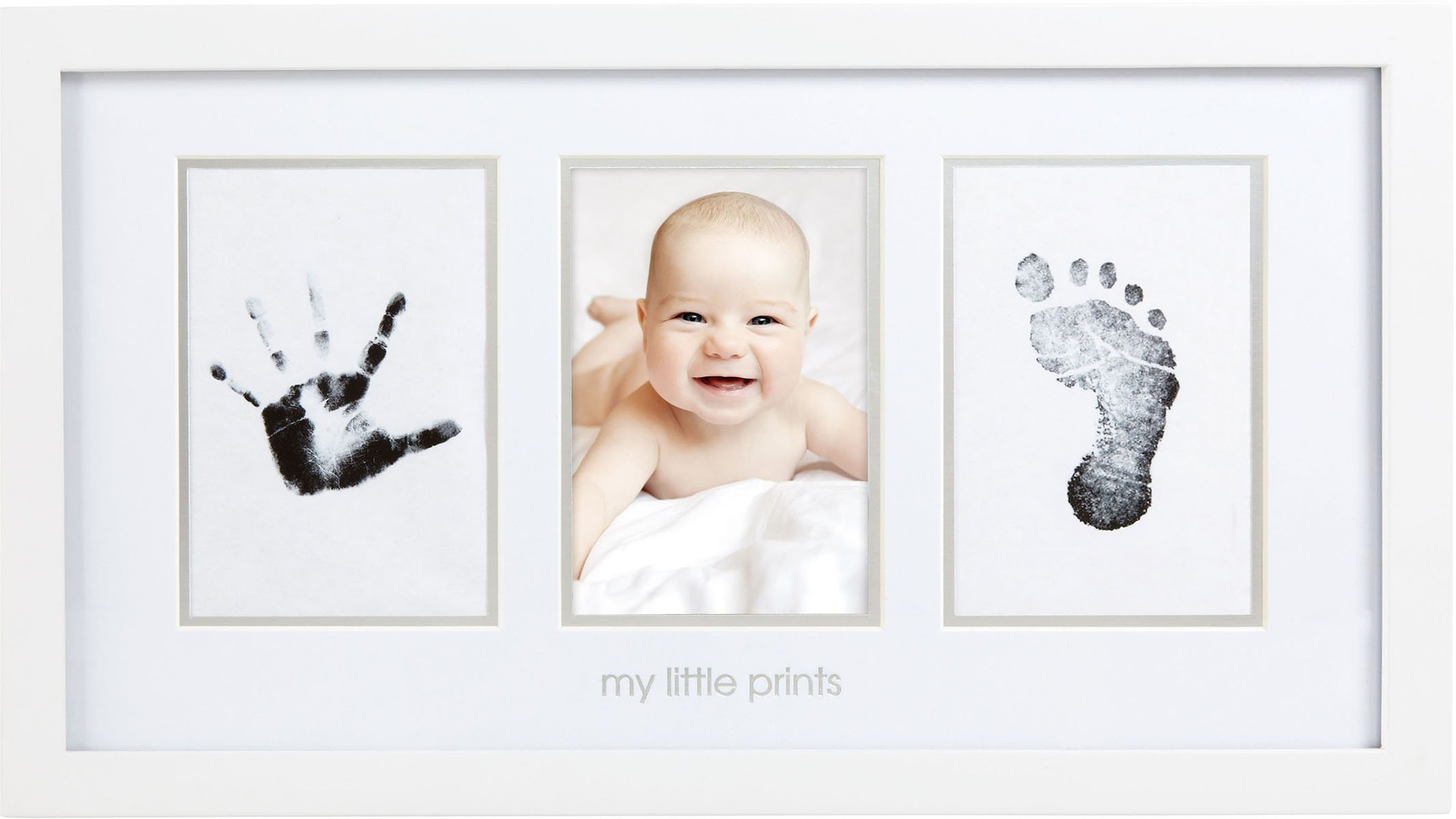 Pearhead Babyprints Newborn Baby Handprint and Footprint Photo Frame Kit with Included Safe for Baby Clean-Touch Ink Pad, White