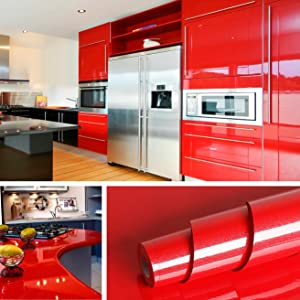 """Livelynine Shiny Red Wall Paper Decorations 15.8""""x197"""" Gloss Red Wallpaper Peel and Stick Backsplash Kitchen Cabinet Red Vinyl Adhesive Shelf Liners Bathroom Counter"""
